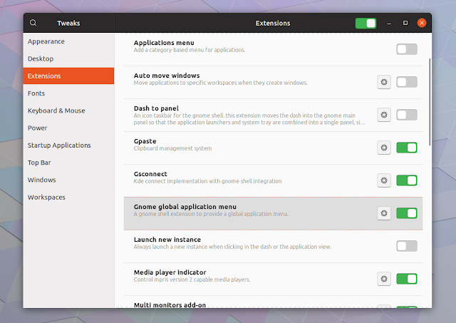 Gnome Tweaks global applications menu