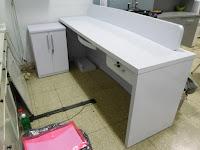 Meja Resepsionis Meja Cs Meja Customer Service Kantor Warna Putih Mengkilat Furniture Semarang