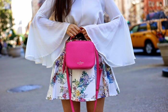 chicwish floral skirt, chicwish bell sleeve top, tory burch wedges, kate spade bag, hot pink bag, baublebar tassel earrings, fashion blog, romantic outfit, summer outfit ideas, floral skirt outfit ideas, nyc, flatiron building