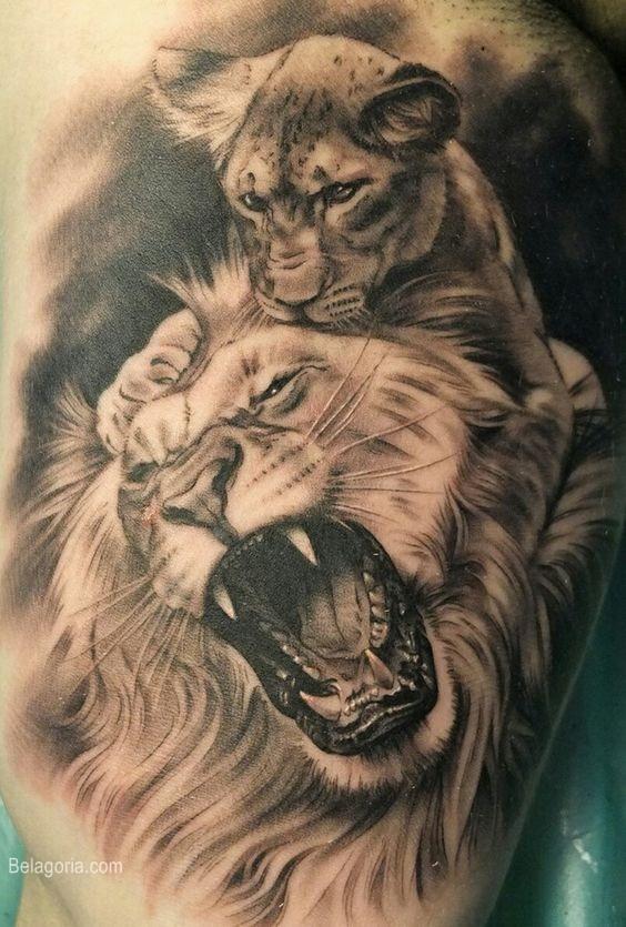 tatuaje de León macho y cría