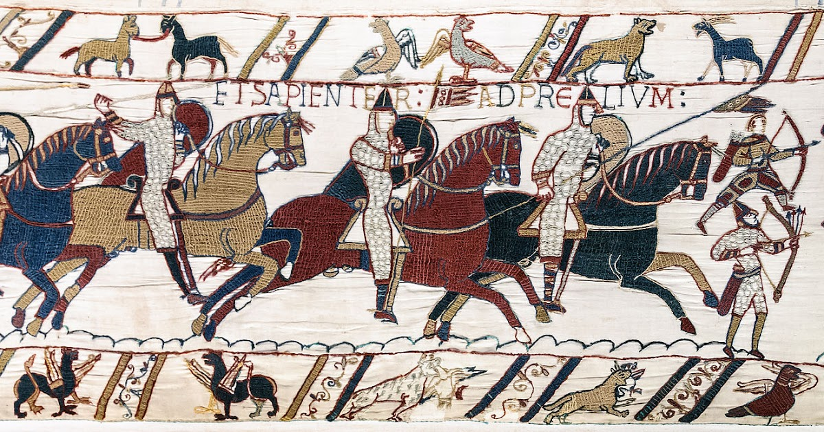 Bayeux Tapestry Scene Battle Of Hastings Norman Knights And Archers