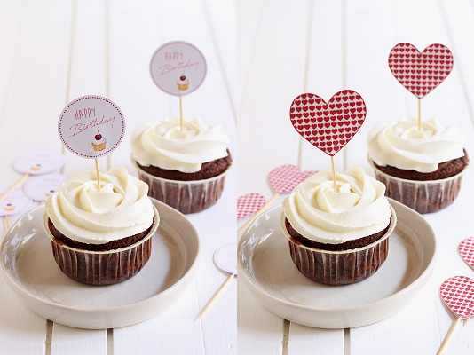DIY-Tutorial Cupcake und Muffin Picker - Template/Vorlage Happy Birthday - Herzen in Herz