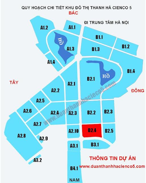 Lô đất B2.4, bản đồ phân lô biệt thự, liền kề ô B2.4 do dự án khu đô thị Thanh Hà Cienco 5