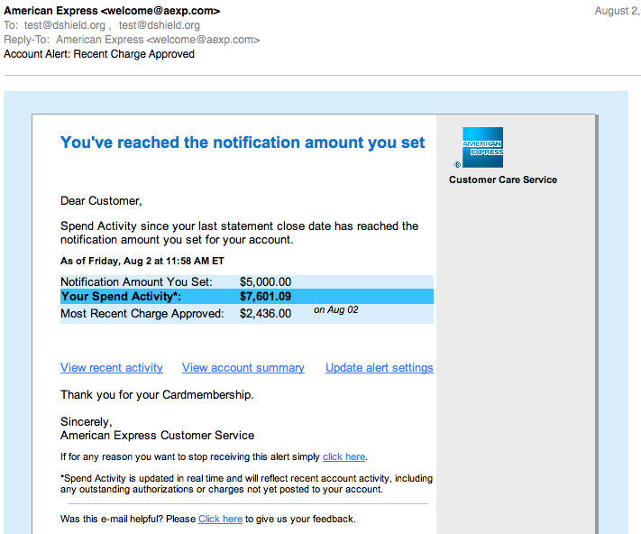 Fake American Express Email – Phishing Email Sent to the