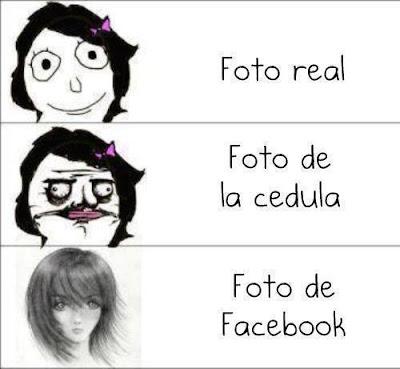 La foto real vs la foto que se muestra en el Facebook