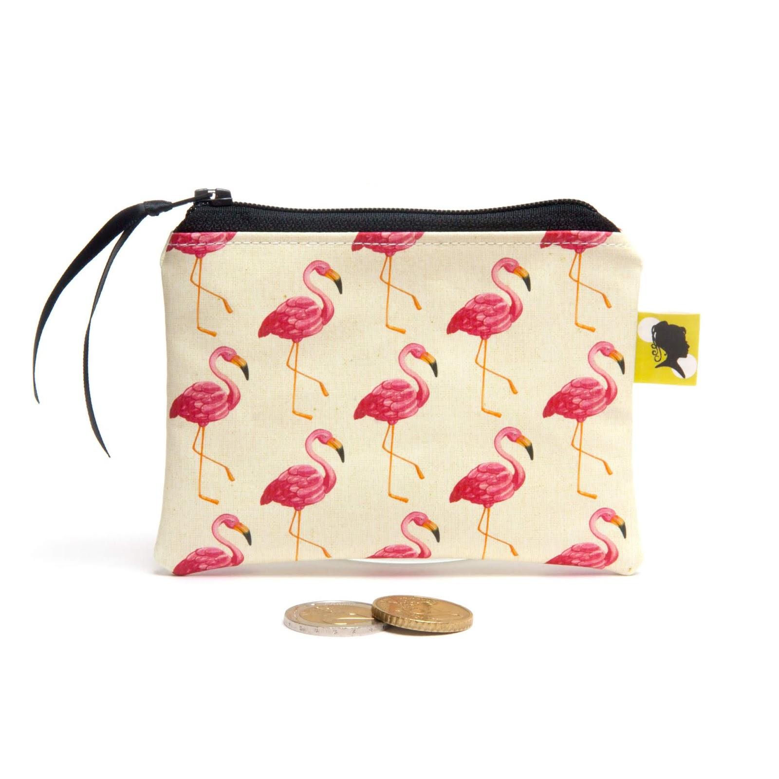 Porte-monnaie, bourse, pochette, fait-main, idée cadeau femme, fête des mères, maîtresse, nounou, motif flamants roses, doublé, 12x9 cm