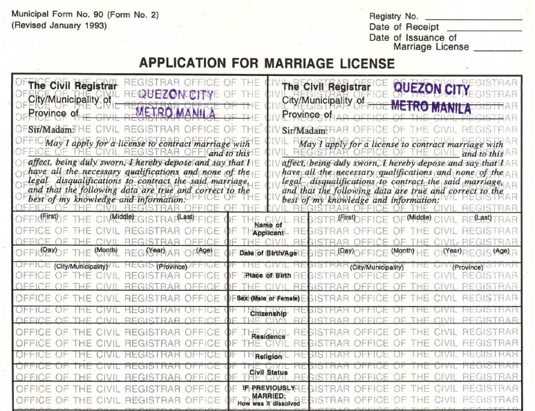 Copy Of Marriage License Request Form For A Confidential: Processing The Marriage License