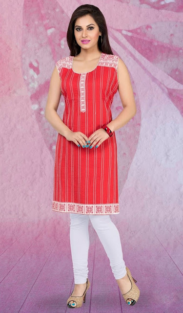 Red Cotton Printed Casual Kurti