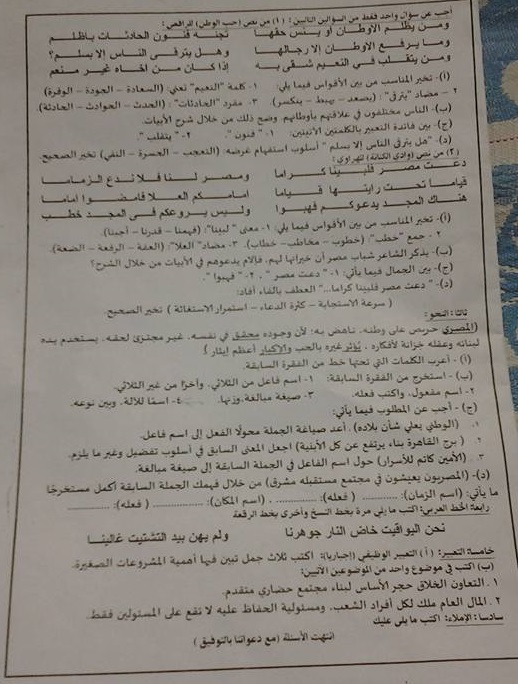 ورقة امتحان اللغة العربية للصف الثالث الاعدادي الفصل الدراسي الثاني 2016 محافظة الدقهلية