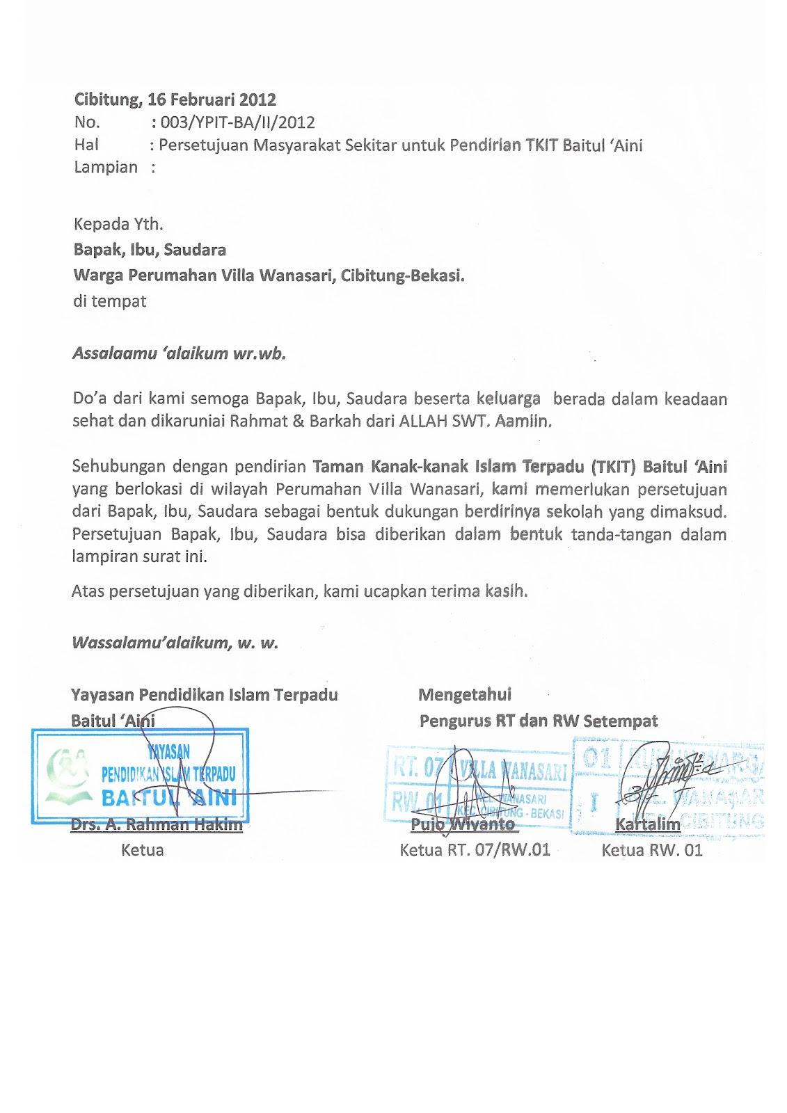 TKIT-TPQ BAITUL 'AINI: Contoh Format Persetujuan Warga ...