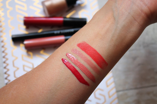 Beauty Pie 3d Shine Liquid Lipstick, Fantasticolour Sculpting Lipstick and Futurelipstick Matte Swatches