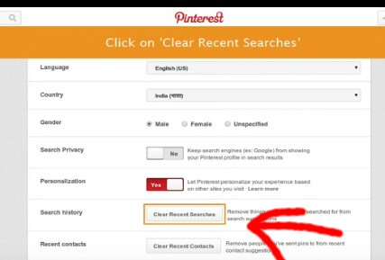 How To Remove your Search History On Pinterest