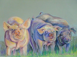 pigs in artwork, colorful pig painting, colorful farm animal artwork