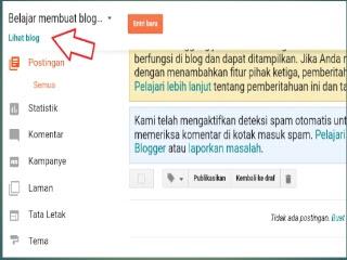 Halaman dasboard blogger setelah membuat blog