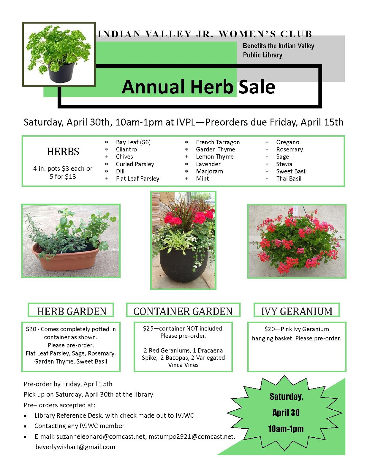Herb Sale to benefit Library @ Indian Valley Public Library | Telford | Pennsylvania | United States