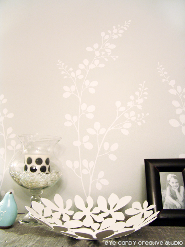 smell the flowers, white vinyl on dining room wall, IKEA floral bowl
