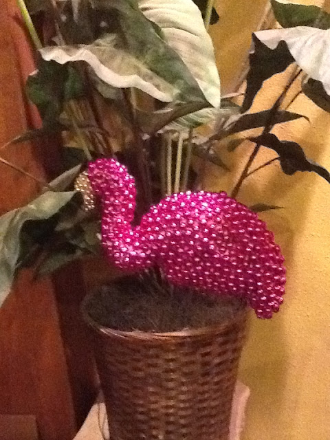 Mardi Gras bead flamingo