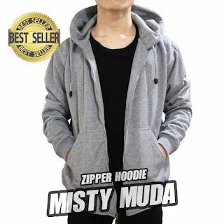 hoodie ZIPPER polos ABU MISTY MUDA