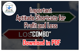 """List of Important Aptitude Shortcuts for Profit and Loss Problems """"COMBO""""- Download in PDF"""