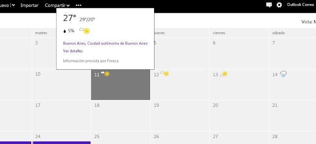 Revisa el clima con outlook.com