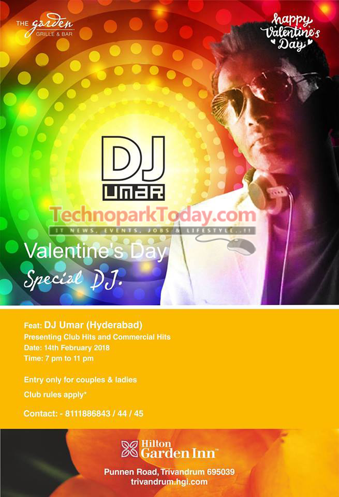 valentines day party trivandrum DJ party Hilton Garden Inn