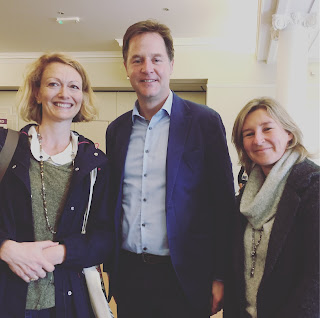 Former deputy prime minister Nick Clegg with Emma Clark Lam & friend