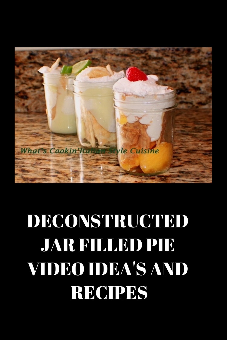 these are mason jars filled with pie crust broken up and how to make mason jar pies. The jars are filled with key lime pudding, banana cream pudding and strawberries, cream and pudding. All no bake pies in a glass mason jar.