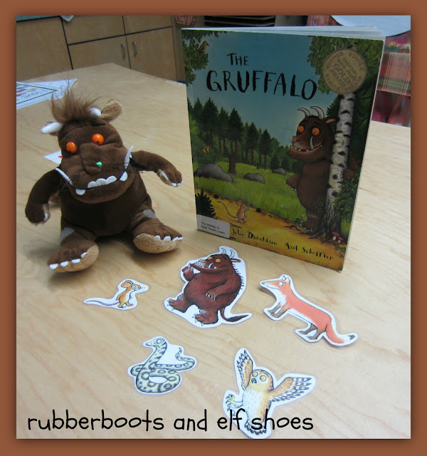 The Gruffalo with Gruffalo stuffed animal and Gruffilo print outs with a mouse, monster, snake, owl, and fox