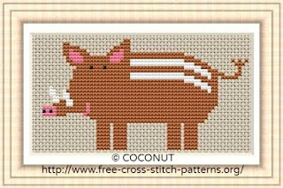 Wild boar, Free and easy printable cross stitch pattern