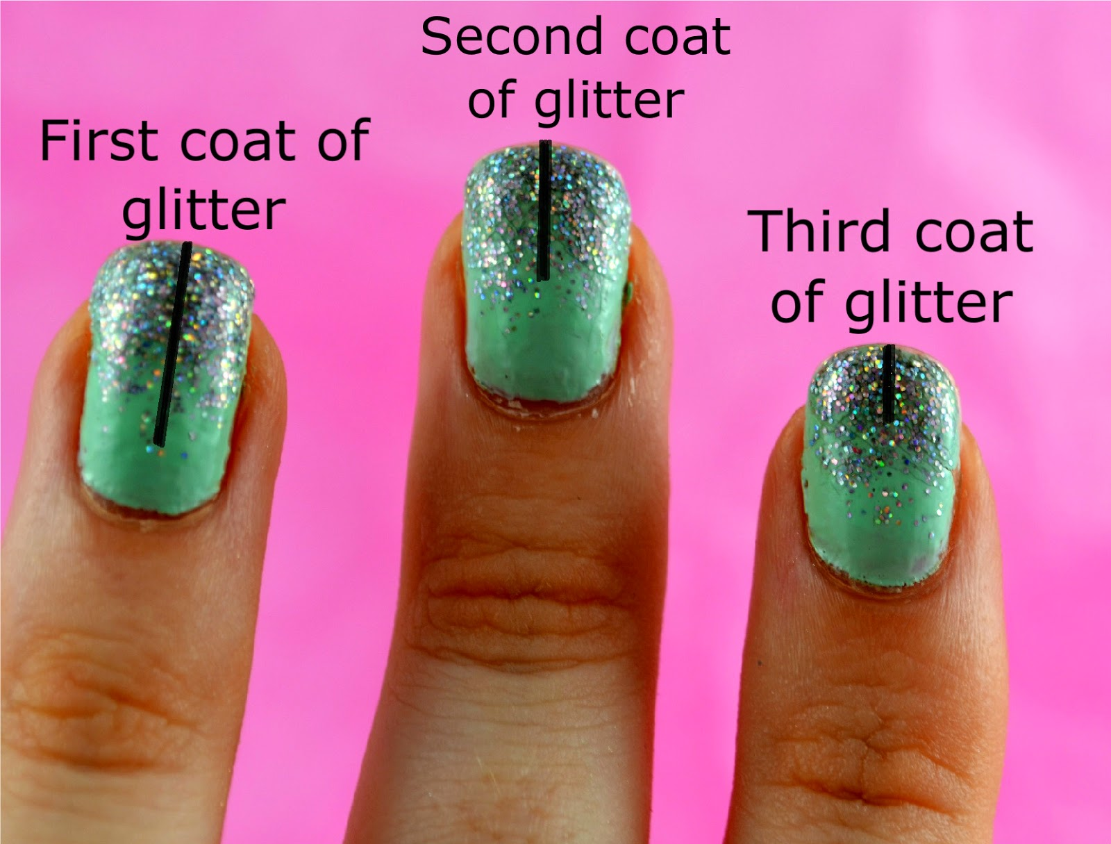 Mint Green And Gradient Silver Glitter Nail Art Laura Trends