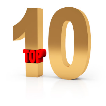 """Top 10"" with top in red and ten in large gold digits"