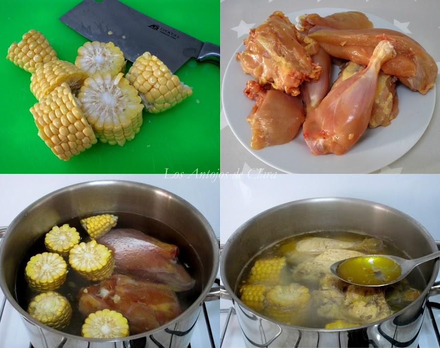 Preparación sopa de pollo