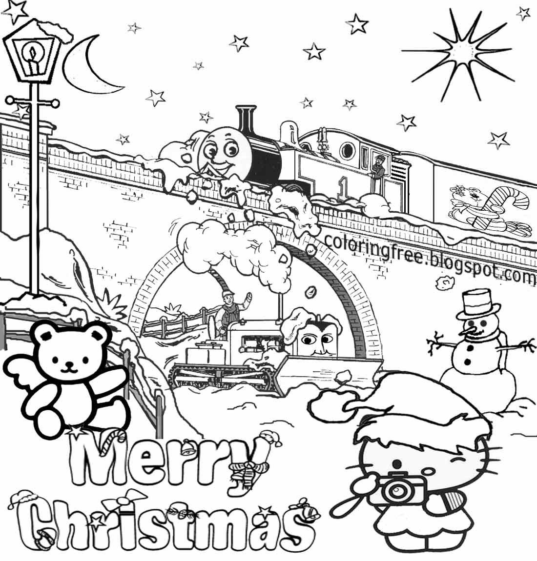 Hello Kitty Christmas Coloring Worksheet