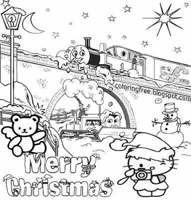 Simple Girls Pretty Hello Kitty Merry Christmas Printable Cute Easy Coloring Art Pictures Of Winter
