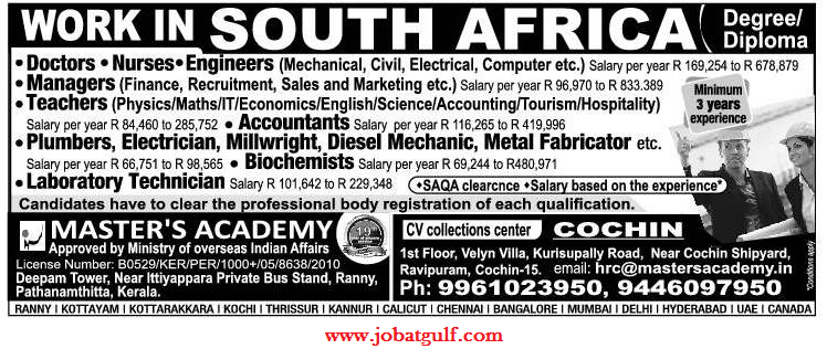 WORK IN SOUTH AFRICA - job at gulf