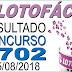 Resultado da Lotofácil concurso 1702 (15/08/2018)