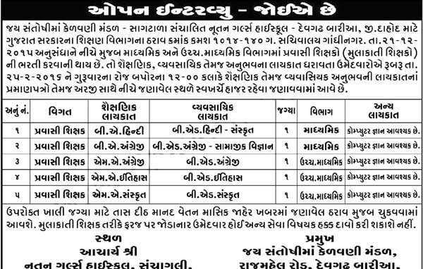 Nutan High School Devgadh Bariya Pravasi Shikshak Bharti 2016