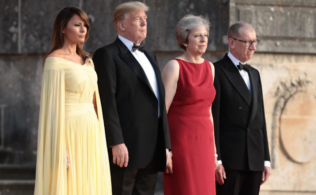 WARM WELCOME Red carpet rolled out for Donald Trump and Melania as Theresa May welcomes them for gala dinner on the first night of historic UK tour