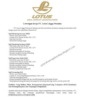 Karir Lowongan Kerja PT Lotus Lingga Pratama Bandung terbaru 2020