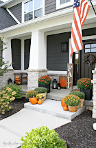 Modern Craftsman Front Porch Decorated Fall