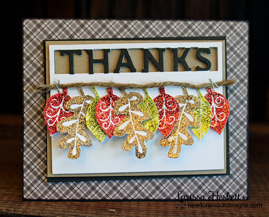 Thanks Glittery Leaf card by Larissa Heskett for Newton's Nook Designs - Falling Into Autumn Stamp Set