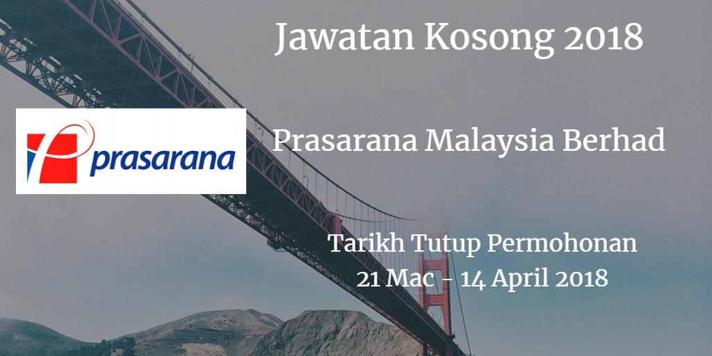 Jawatan Kosong Prasarana Malaysia Berhad 21 Mac - 14 April 2018