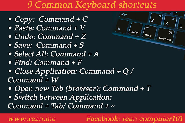 9 keyboard shortcut on mac os x