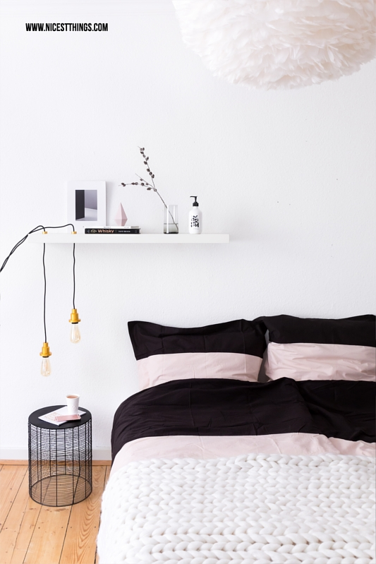 DIY Lampe an Regalbrett Schlafzimmer
