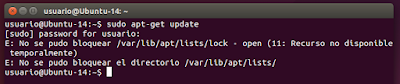 E: No se pudo bloquear /var/lib/lists/lock