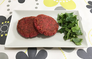 Vegetarian burgers of beet, cheese and rice