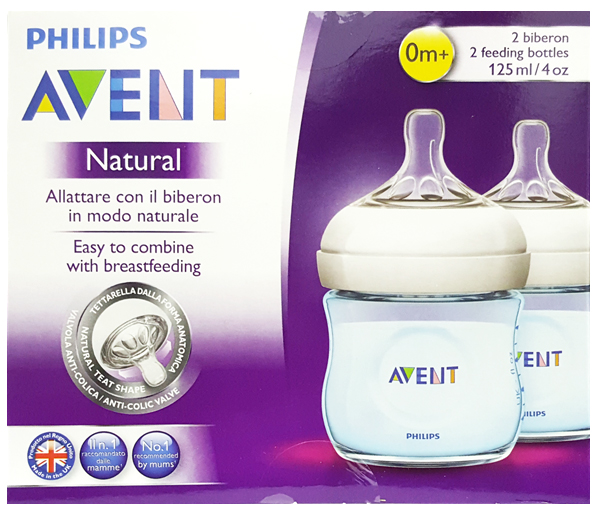 AVENT NATURAL BOTTLE 4oz 125ml TWIN PACK