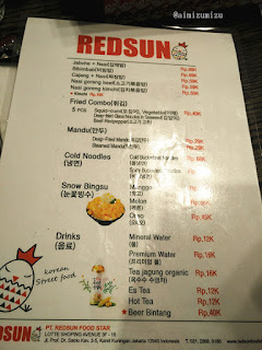 Menu Redsun Korean  Street Food