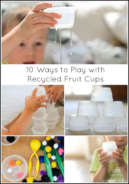10 ways for kids to play, learn, and craft with plastic, individual serving size applesauce or yogurt cups - simple boredom buster activities for kids from And Next Comes L