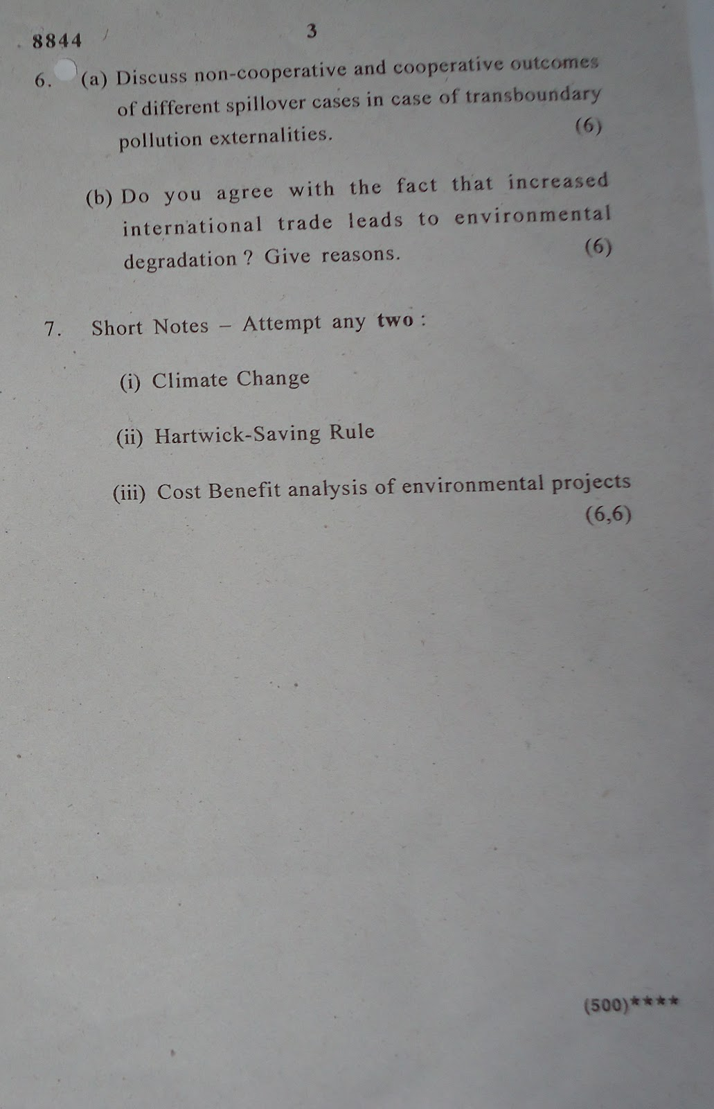 THOUGHT: QUESTION PAPER ENVIRONMENTAL ECONOMICS 2011